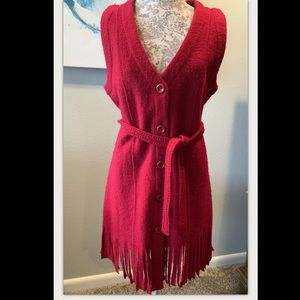 Wool Red Fringed Belted Vest Size L. NWT